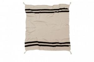 Pled crem/negru din bumbac 125x150 cm Stripes Natural-Black Lorena Canals