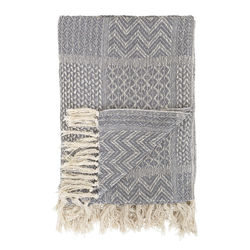 Pled gri din bumbac 160x130 cm Throw Bloomingville