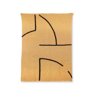 Pled ocru/negru din bumbac si poliester 130x170 cm Andorra HK Living