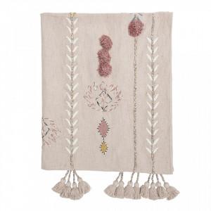 Pled roz din bumbac 125x150 cm Tora Bloomingville