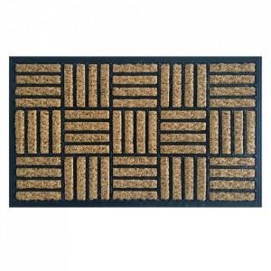 Pres dreptunghiular maro/negru din fibre de cocos pentru intrare 45x75 cm Parkett Lako
