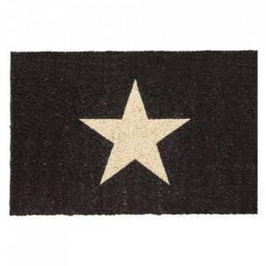 Pres dreptunghiular negru din fibre de cocos pentru intrare 40x60 cm Star Lako