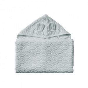 Prosop cu gluga gri din bumbac organic 70x130 cm Junior Classic Grey Cam Cam
