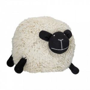 Puf oval alb pentru copii din lana si bumbac 56x75 cm Behehe Bloomingville