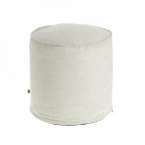 Puf rotund alb din textil 42 cm Maelina Kave Home