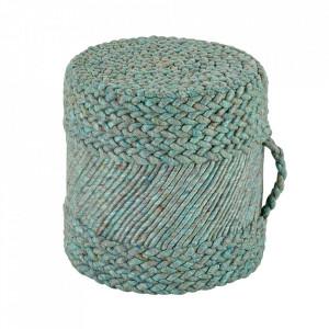 Puf rotund albastru din lana si viscoza 40 cm Copa Obsession