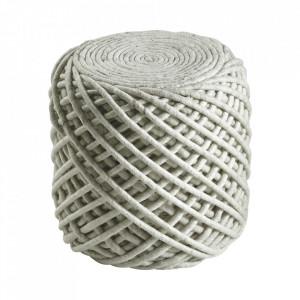 Puf rotund ivoriu din lana si viscoza 40 cm Royal Obsession