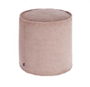 Puf rotund roz din textil 40 cm Zina Small La Forma