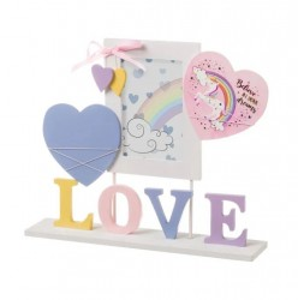 Rama foto multicolora din MDF si sticla 34x38,5 cm Love Unimasa