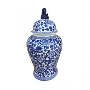Recipient cu capac alb/albastru din portelan 32x61 cm Lord Van Roon Living