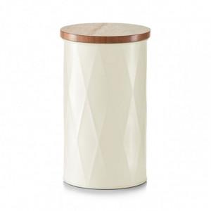 Recipient cu capac crem/maro din metal si lemn 1,6 L Mars Zeller