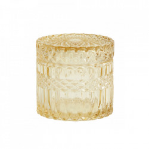 Recipient cu capac galben din sticla 9x9 cm Welly Nordal