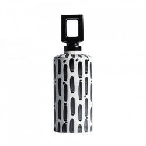 Recipient cu capac negru/alb din ceramica 14x43 cm Samir Vical Home