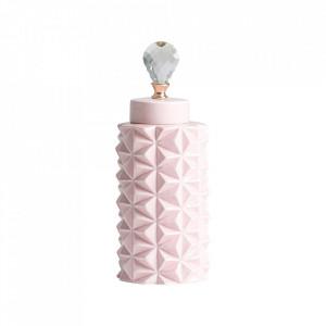 Recipient cu capac roz din ceramica 15x42 cm Saburo Vical Home