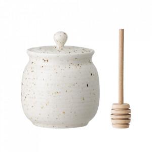 Recipient cu capac si ustensila pentru miere din ceramica si bambus 330 ml Honey Pot Bloomingville