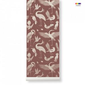 Rola tapet din hartie 53x1000 cm Katie Scott Birds Dusty Red Ferm Living