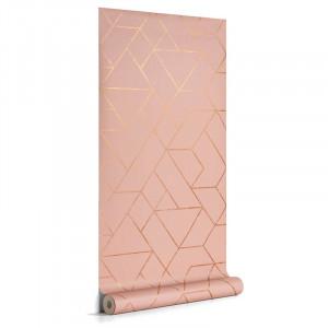 Rola tapet roz deschis din hartie 53x1000 cm Gea La Forma