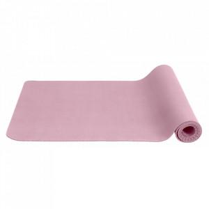 Saltea antiderapanta pentru fitness roz din cauciuc 60x173 cm Yoga Nordal