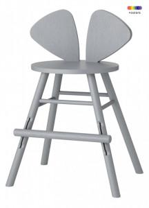 Scaun bar gri din lemn de stejar pentru copii Mouse Chair Nofred