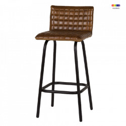 Scaun bar maro coniac/negru din metal si piele Alabama LifeStyle Home Collection