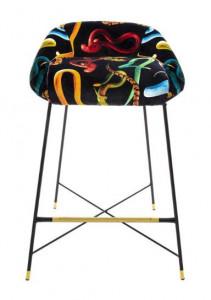 Scaun bar multicolor din poliester si metal Snakes Toiletpaper Seletti