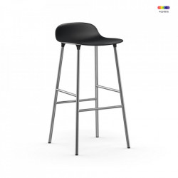 Scaun bar negru din polipropilena si otel Forms Chrome Normann Copenhagen
