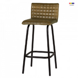 Scaun bar verde/negru din metal si piele Alabama LifeStyle Home Collection