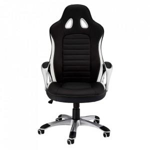 Scaun birou ajustabil negru/alb din poliuretan si plastic Speedy Furnhouse