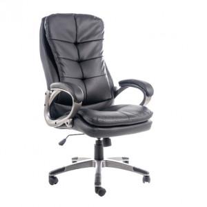 Scaun birou ajustabil negru din piele si plastic Obro Signal Meble
