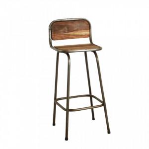 Scaun de bar maro/argintiu din lemn de salcam si fier Stood Raw Materials