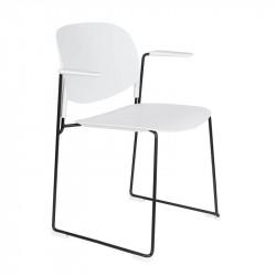 Scaun dining alb/negru din polipropilena si otel Stacks Arm White Label