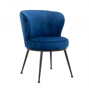 Scaun dining albastru din catifea si metal Meadow Richmond Interiors