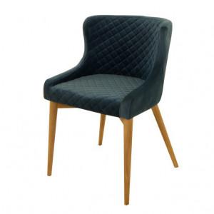 Scaun dining albastru inchis din lemn si textil Paris Zago
