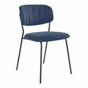 Scaun dining albastru/negru din textil si metal Alicante House Nordic