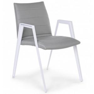 Scaun dining gri/alb din textilena si aluminiu pentru exterior Axor Bizzotto