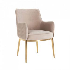 Scaun dining kaki/auriu din catifea si inox Breeze Richmond Interiors