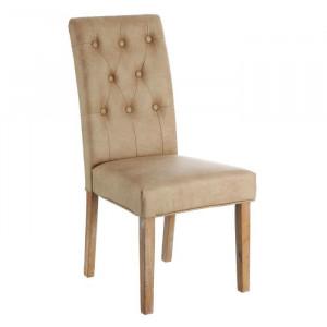 Scaun dining maro/crem din lemn si poliuretan Sara Ixia