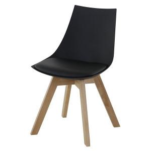 Scaun dining negru din lemn si polipropilena Kim Zago