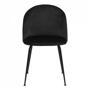 Scaun dining negru din textil si metal Louise Actona Company