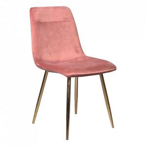 Scaun dining roz/auriu din catifea si metal Eros Signal Meble