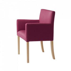 Scaun dining roz din poliester si lemn Wilton Arms Custom Form