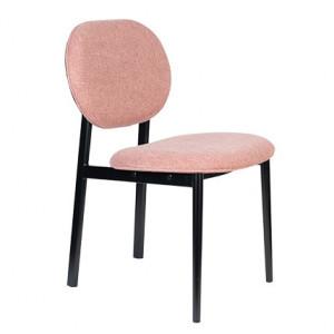 Scaun dining roz/negru din poliester si otel Spike Zuiver