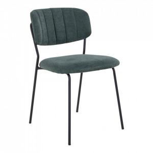 Scaun dining verde/negru din textil si metal Alicante House Nordic
