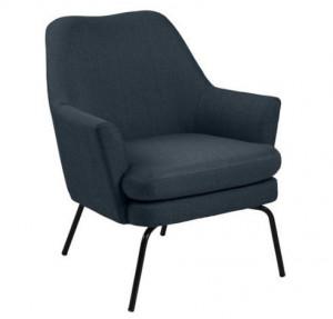 Scaun lounge albastru/negru din textil si metal Chisa Dark Blue Black Actona Company