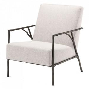 Scaun lounge crem din poliester si lemn de mahon Antico Eichholtz