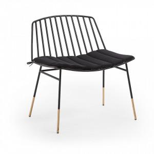 Scaun lounge din metal negru Siena Kave Home
