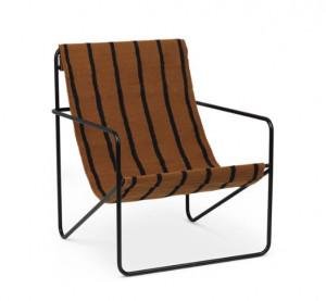 Scaun lounge din metal si textil Desert Black Stripe Ferm Living