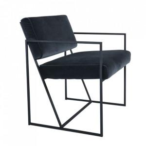 Scaun lounge gri inchis din catfiea si metal Fiori Steinhauer