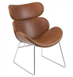 Scaun lounge maro/argintiu din poliuretan si otel Cazar Brown Silver Actona Company