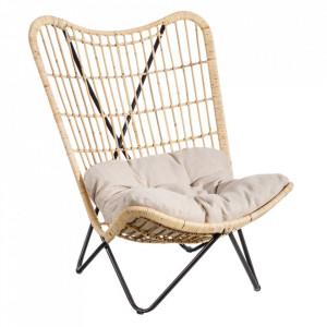 Scaun lounge maro din fibre naturale si metal Reine Ixia